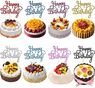 Airsnigi Happy Birthday Cake Topper, 48 Pieces Birthday Cake Toppers Glitter Cardstock Topper Happy Birthday Cupcake Topper Cake Decoration Supplies - Eight color