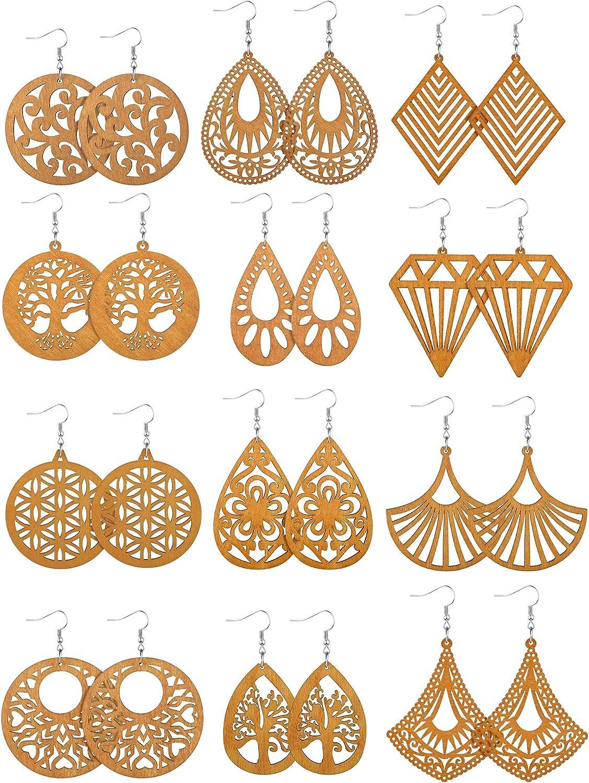 12 Pairs African Wooden Drop Earrings Bohemian Pendant Dangle Earrings Lightweight Ethnic Style Wood Earrings for Women