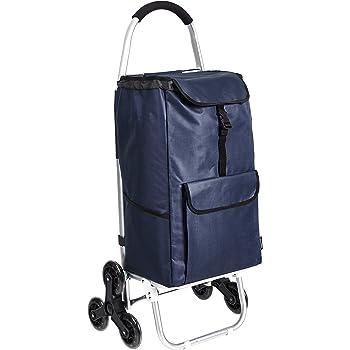 VeoHome Carrello Spesa Porta Spesa Leggero con Borsa Termica 2 Tasche Laterali 40L Tasca Principale Blu e Nero Compatto e Ripiegabile Carrellino Spesa con Ruote Facile da Trasportare