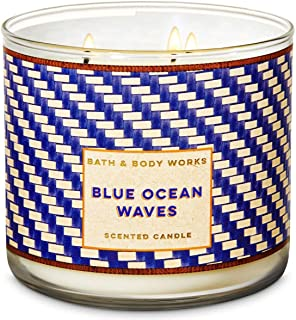 Bath and Body Works 3 Wick Candle Blue Ocean Waves