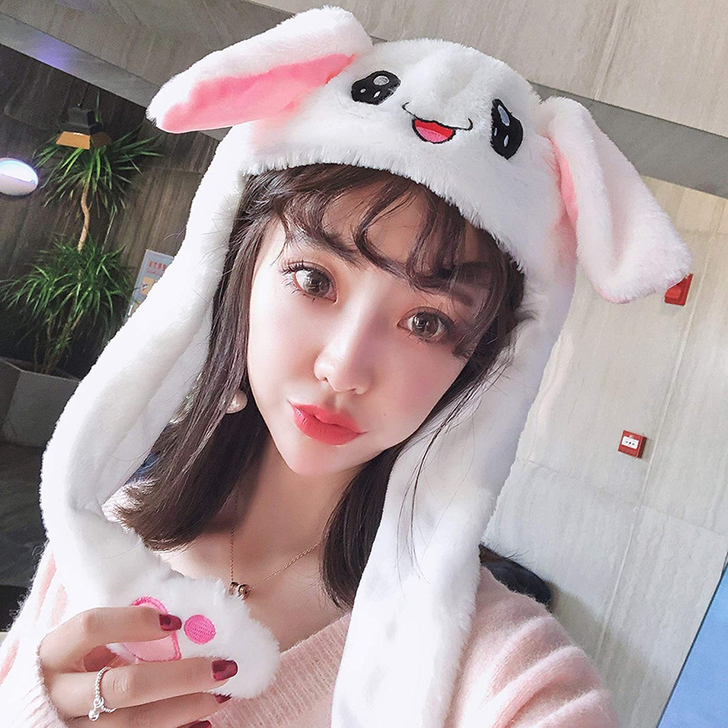 White Rabbit Floppy Funny Plush Animal Hat Easter Aadults Cosplay Rabbit Ear Moving kids Crazy Bunny Hat Moving Ears Pokemon Dancing Bunny Silly Kids Hat 9108TDCQ Moving Ears Hat