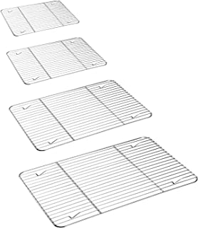 P&P CHEF Cooling Rack 4 Pack, Stainless Steel Baking Racks for Cooking Baking Roasting Grilling Cooling, Fit Various Size Cookie Sheets - Oven & Dishwasher Safe