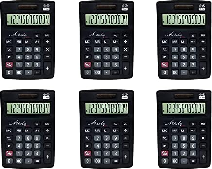$27 Get Nikola Works Bulk Premium Desktop Calculator Set Large 12 Digit Tilted Digital LCD Screen Dual Powered Solar and Battery Operated Standard Function Quiet Keys Operation (6-Pack) - Wholesale Multipack