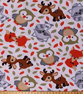 Fleece Forest Animals Foxes Raccoons Owls Deer Sweet Woodland Friends White Fleece Fabric Print by The Yard (A331.15)