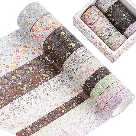 Lot de 10 rouleaux de ruban adhésif washi - Motif floral doré - Pour scrapbooking, emballage cadeau et projets de bricolage (10 rouleaux)