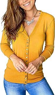 Women Long Sleeve Snaps Button Down V Neck Cute Knit...
