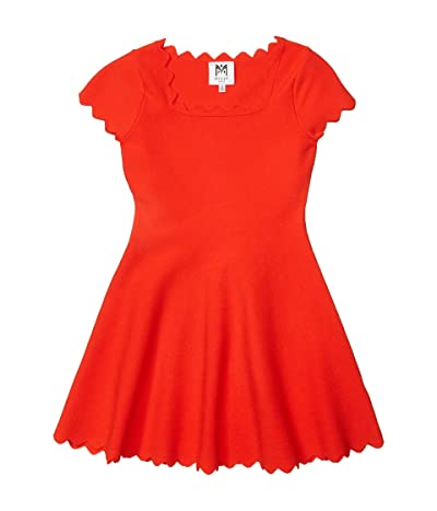 Milly Minis Scalloped Edge Fit-and-Flare Dress (Big Kids) (Coral) Girl