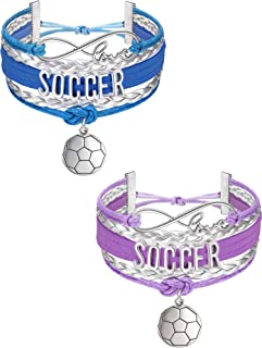 Hicarer 2 Pieces Soccer Bracelet Soccer Jewelry Gifts Adjustable Soccer Charm Bracelet with Gift Box for Soccer Players