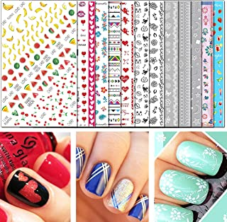 TailaiMei Nail Decals Stickers, 1600+ Pcs Self-Adhesive Tips DIY Nail Art Design Stencil..