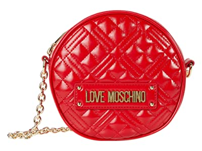 LOVE Moschino Quilted Round Crossbody (Red) Handbags