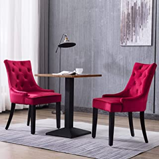 Mecor Fabric Dining Chairs Set of 2,Leisure Velvet Padded Chairs with Nailhead Trim,Solid Wooden Legs, Red