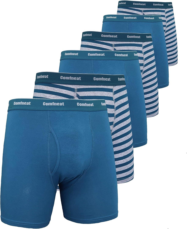 Comfneat Men's sale 6-Pack Boxer Briefs Tag shop Cotton Spandex S-XXL Soft