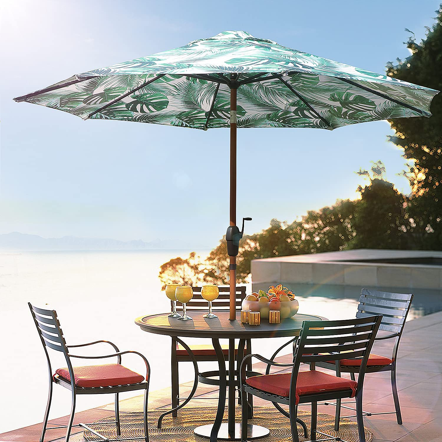 9Ft Patio Umbrella Outdoor Table Umbrellas and Auto-Tilt Cr with Seasonal Wrap Introduction Limited price sale