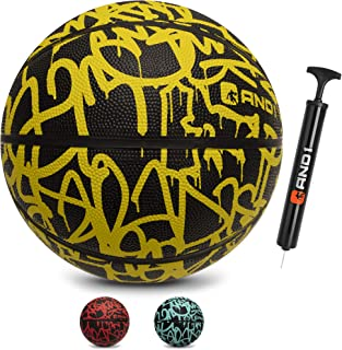 "AND1 Fantom Rubber Basketball & Pump (Graffiti Series)- Official Size 7 (29.5"") Streetball, Made for Indoor and Outdoor Basketball Games"
