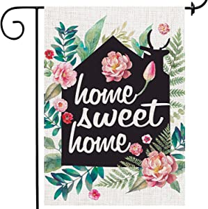 MuaToo Home Garden Flag 12 x 18,Home Sweet Home Double-Sided Printing Imitation Linen Vertical Small Garden Flag for Patio Backyard Home Yard Flag Outside.