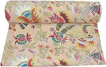 Kiara Indyjski, ręcznie robiony bawełniany koc pikowany, dwustronny, wzór kantdy Paisley, nadruk kwiatowy, narzuty i pokro...