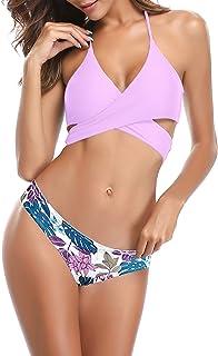 Forma Perfetta del Seno JIKLLSJID Bikini Fasciatura a Blocchi Colore Moda Donna Color : Purple Costume Bagno Donna Due Pezzi Reggiseno Ferretto Senza Schienale Rigido Raccogli Tuoi Seni