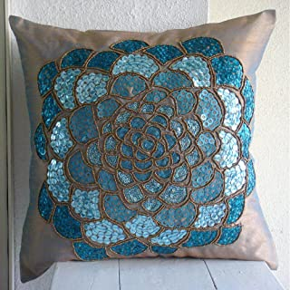 55x55 cm Taies D'Oreiller Décoratif, Bleu Housses De Coussin, 3D Paillettes Flower Médaillon Thème Floral Couverture D'Ore...
