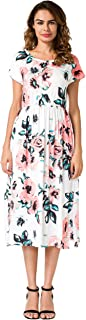 OQC Women's Summer Floral Print Short Sleeve Hight Waist Party Long Dress With Pockets
