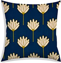 RADANYA Cushion Cover Floral Digitally Printed Navy Blue Satin Home Decoration Square Throw Pillow Case 16x16 Inch