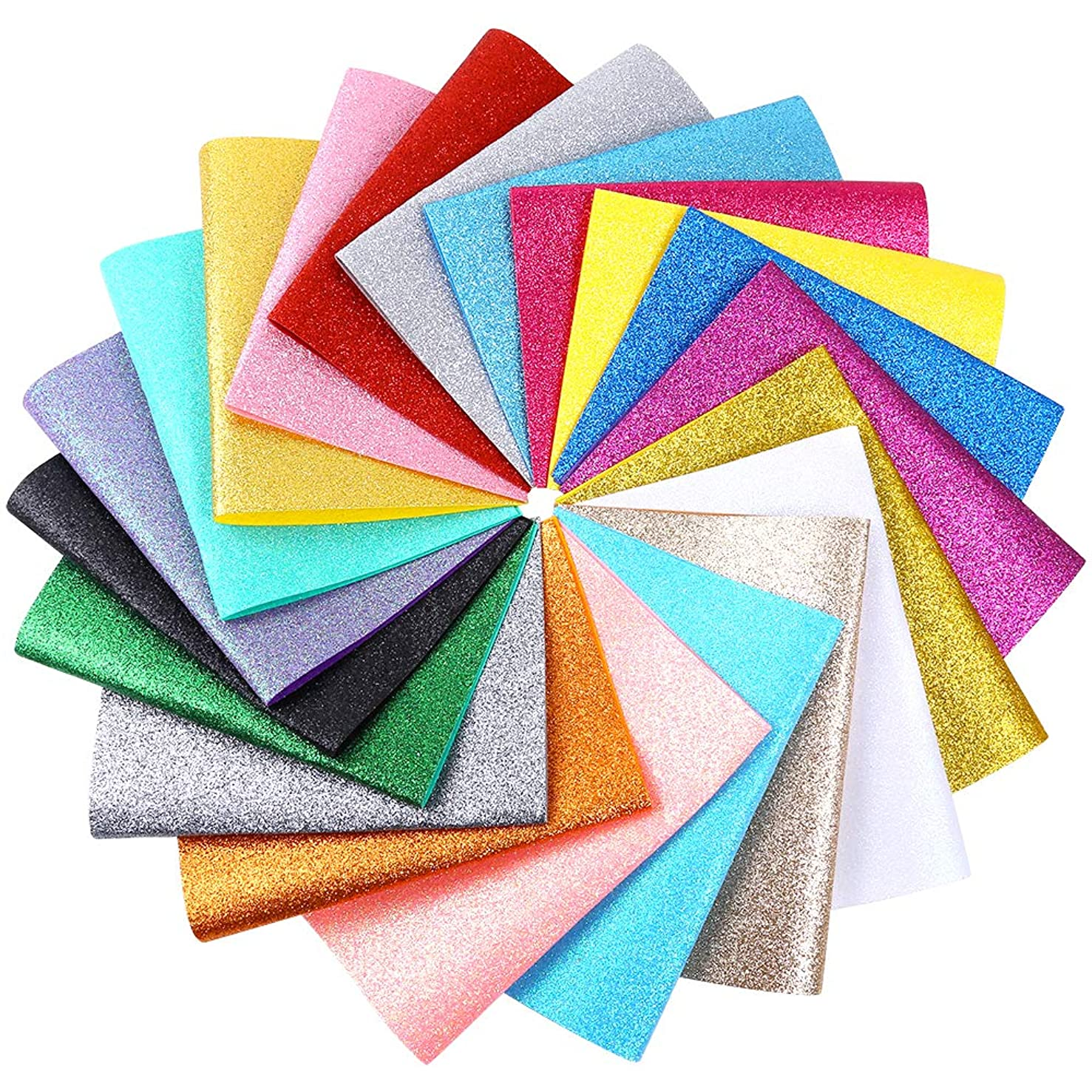 Caydo 20 Pieces 20 Colors Shiny Superfine?Glitter Fabric Glitter Felt Sheets for Bag Making, Hat Making, Hair Crafts Making, Jewelry Making, Sewing and Other Decorations