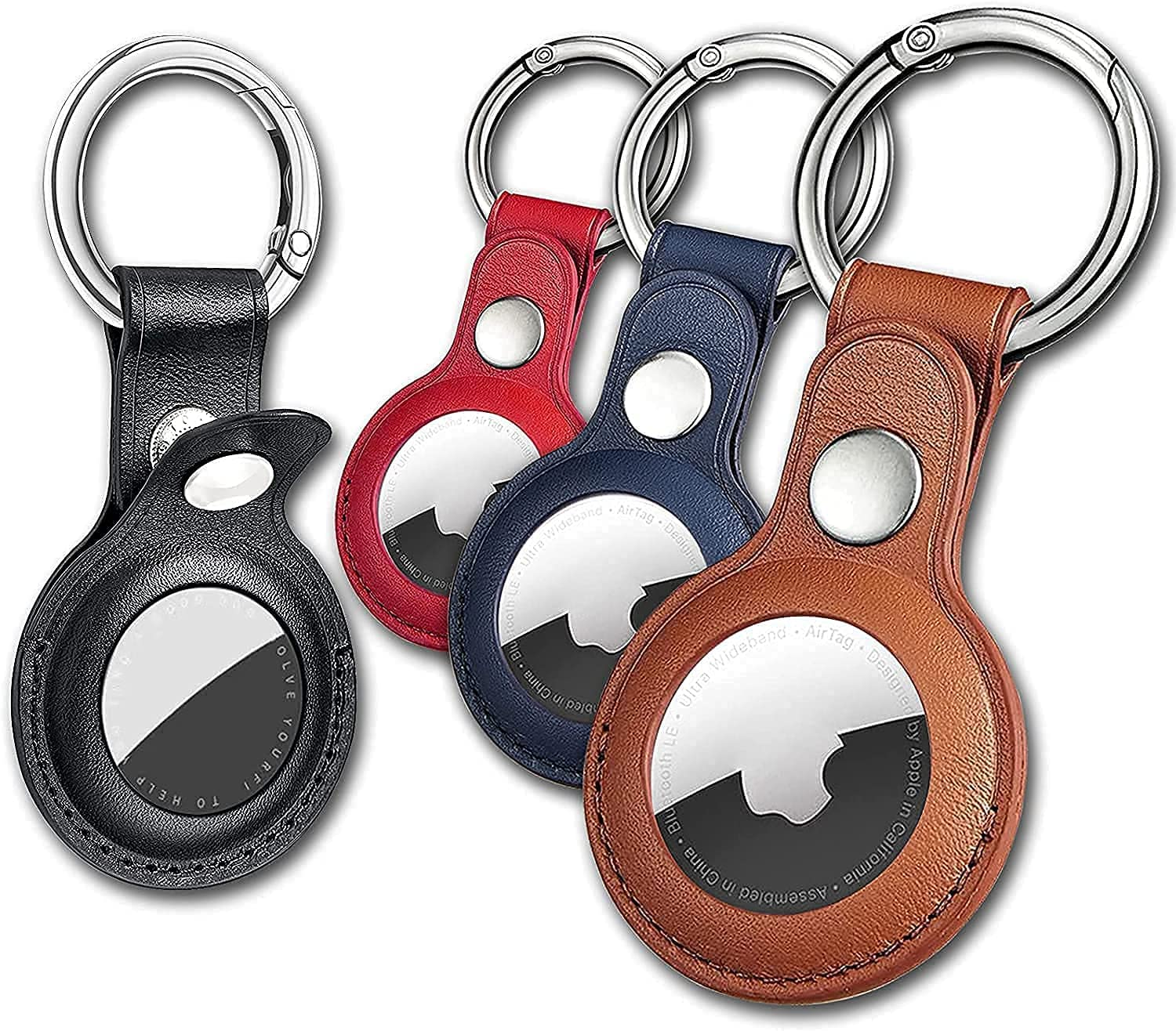 4 Pack Anti-Lost Leather Case for AirTag,VAYWET Protective Case Cover with Keychain Ring Designed,Safety Airtag Tracking Locator Anti-Lost Tracker Finder Protector(Multiple Colours )