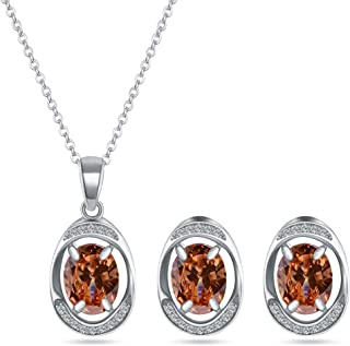 Bridal Jewelry Set for Women - Silver Plated Cubic Zirconia Crystal Oval Halo Necklace and Dangle Earrings Set Fashion Jew...
