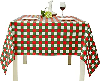 Biscaynebay Christmas Printed Checkered Table Cloth, Water Resistant Fabric Tablecloth, Plaid Green/Red 52 by 70 Inch Rectangle