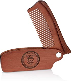 Pocket Size Folding Wooden Comb for Men - Classy Natural Red Sandalwood Comb for Men's Beard, Hair, and Mustache Styling - Everyday Hair Grooming Tool for Gents by Smart Trim