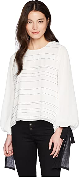 Petite Tie Cuff Bubble Sleeve Sheer Jacquard Stripe Blouse