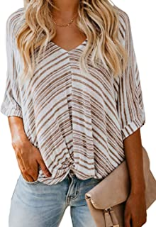 FARYSAYS Women's Summer Striped Short Sleeve V Neck Twist Knot Casual T-Shirt Tops Loose Blouse