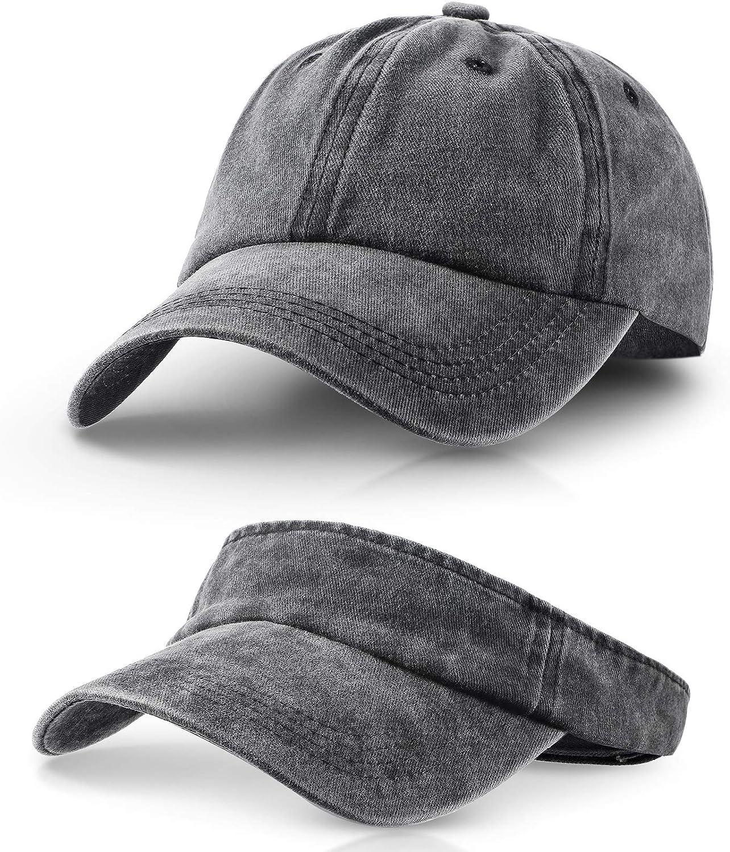2 Pieces Vintage Sports Sun Visor Hats Adjustable Empty Top Baseball Cap Ball Caps for Men and Women, 2 Styles