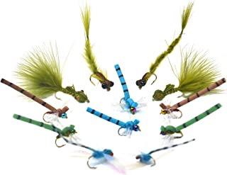 Outdoor Planet 9/12 Caddisflies/Mayfly/Attractor Nymph/Dragonflies and Damselflies/Stonefly/Hopper/Salmonfly/Dry Flies for Trout Fly Fishing Flies Lure Assortment