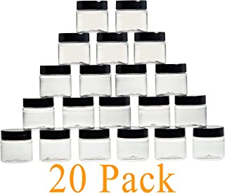 1oz Jars/Containers with Lids 30G / 30ml - Bulk, 1 Ounce Small Clear Cosmetic Jars with Screw Cap - Sample Containers with Lids for Pills, Powders, Ointments, Makeup, Liquid - BPA Free Plastic (20)