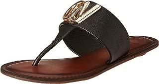 Catwalk Black Leather Slip-on Sandals for Women's