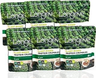 Longève Plain Plant-Based Protein Crumbles (Shelf-Stable, Gluten-Free, Vegan, Soy-Free, Keto) (2oz, 6-pack)