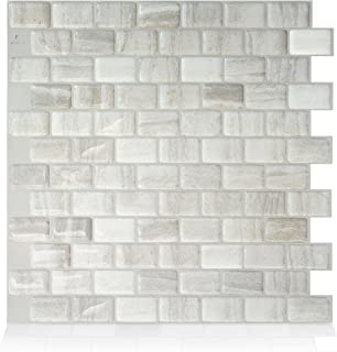 Smart Tiles Authentic Peel and Stick Backsplash and Wall Tiles 9.80 in X 9.74 in (4 Sheets) – Brown (Ravenna Farro)