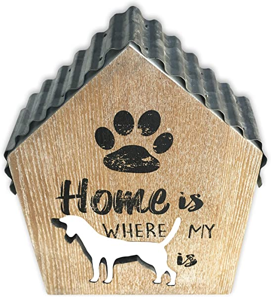 Dog Decor Dog Sign Wooden Coffee Table Decor Letters Wall Decor Rustic Living Room Kitchen Decorations Hollow Small House With Iron Roof Box Sign Home Is Where My Dog Is