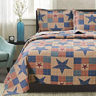 Jessy Home Quilts Twin Size,Plaid Patchwork Star Pattern Retro Coverlet Set,Reversible Bedspread Set,3 Pieces 1 Quilts 2 Pillow Shams