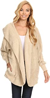 T Party Womens Faux Shearling Jacket with Hood, Long Sleeves, Open Front, and Waist Pockets
