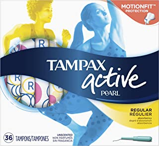 Tampax Pearl Active Tampons with Plastic Applicator, Regular Absorbency, Unscented, 36 Count - Pack of 6 (216 Count Total) (Packaging May Vary)