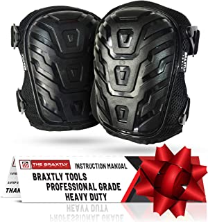 Braxtly Tools HEAVY DUTY WORK KNEE PADS -Professional Quality -Protective Outer Shell -Gel Cushions -Foam Padding -Strong Adjustable Straps -Easy Fasten Clips -Be Comfortable and Prevent Injury