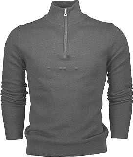 Hann Brooks Mens Long Sleeve Cotton Pique Half Zip Sweatshirt Sweater Top