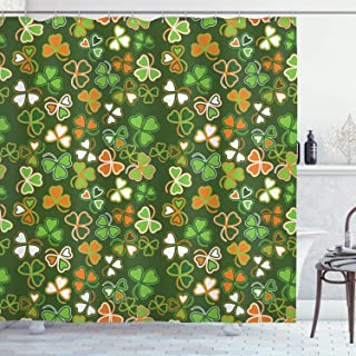 Ambesonne St. Patrick's Day Shower Curtain, Lucky Shamrocks Pattern Irish Clover Celebration Day Party Prints, Cloth Fabric Bathroom Decor Set with Hooks, 70