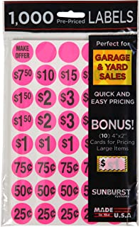 Sunburst Systems 7035 Garage Sale Preprinted Price Stickers, Pink, 1000 Count Pre-Printed Labels