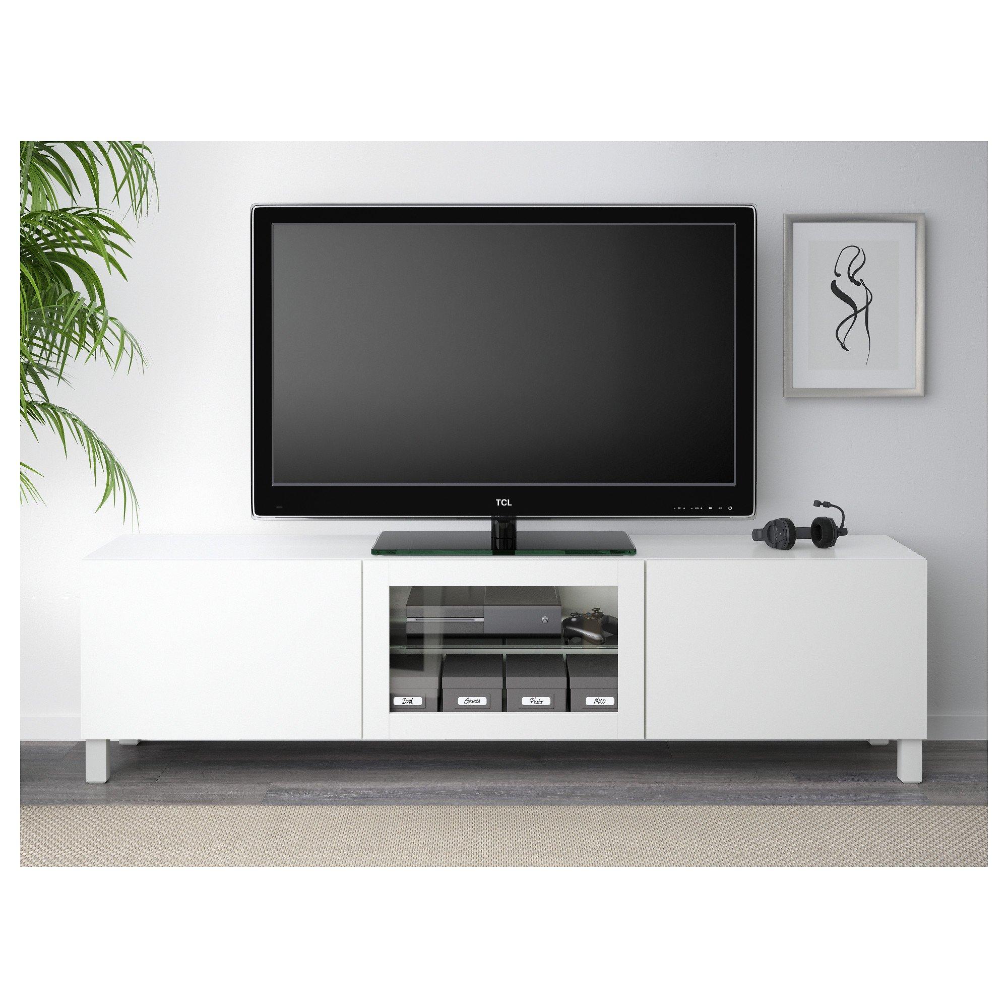 IKEA BESTA - Mueble TV con cajones y puertas de vidrio ...