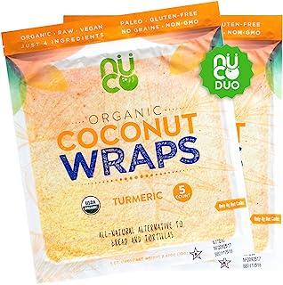 NUCO Certified Organic, SHELF STABLE, Paleo, Gluten Free, Vegan Non-GMO, Kosher Raw Veggie Coconut Wraps Turmeric Flavor. ...
