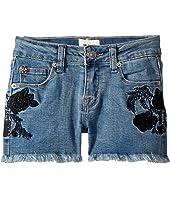 Rose Embellished Shorts in Crown Blue (Big Kids)