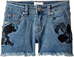Rose Embellished Shorts in Crown Blue (Big Kids)