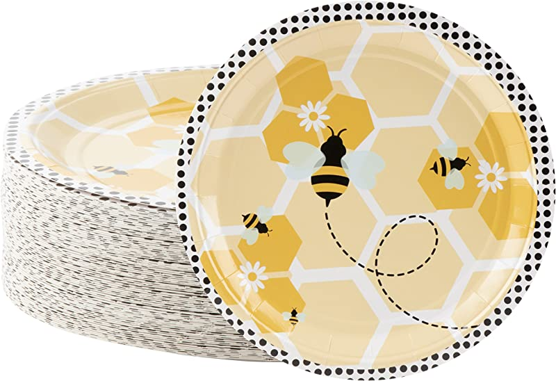 Disposable Plates 80 Count Paper Plates Bumble Bee Party Supplies For Appetizer Lunch Dinner And Dessert Kids Birthdays 9 X 9 Inches